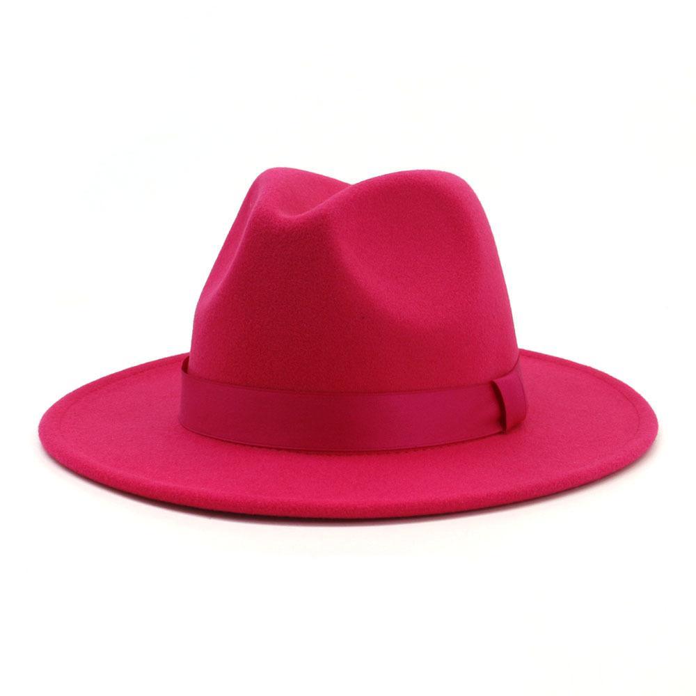 2020 Frauen Stilvolle Rosy Wollfilz Jazz Fedora Hüte mit Band Wide Brim Panama Formal Hut Trilby Damen Fascinator Kleid Hüte