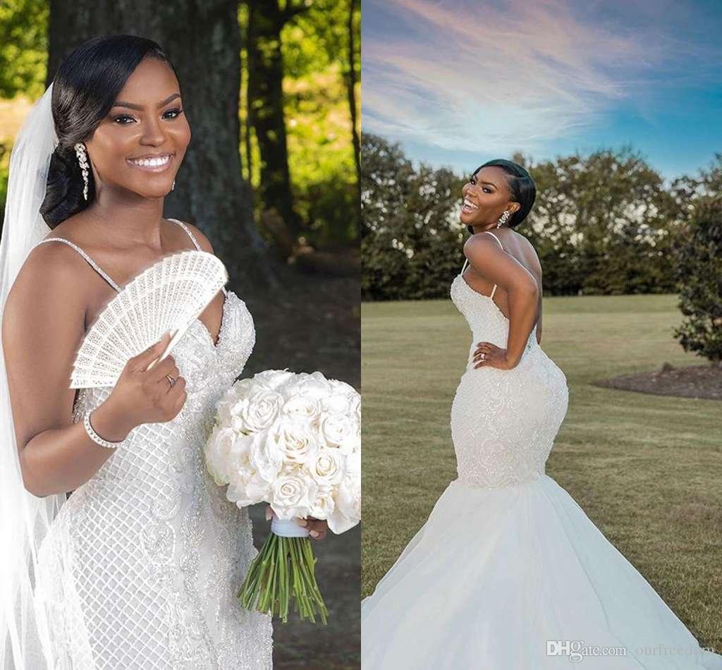 2020 nouvelles magnifiques spaghetti robes de mariée cristaux de perles Backless sirène balayage train Afrique du Sud style robe de mariée Fait sur mesure