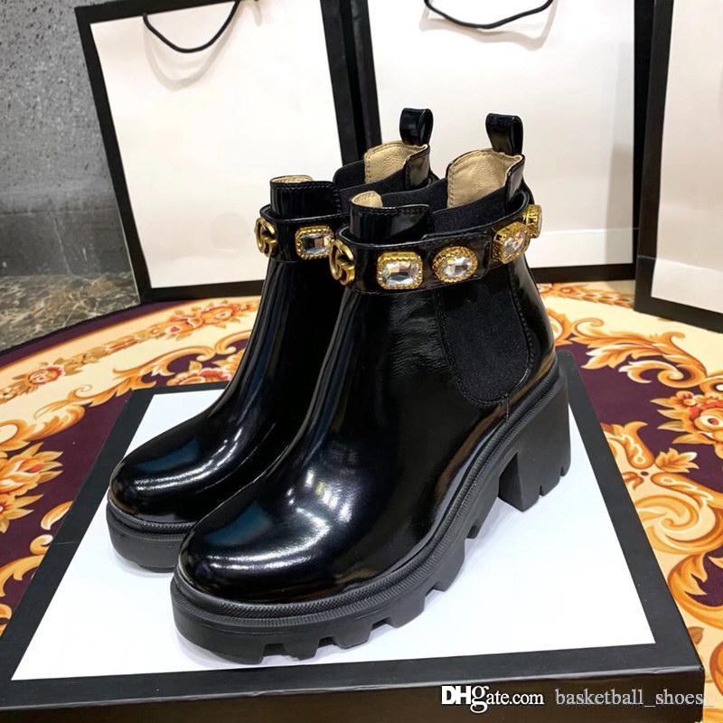 Botas Fashion Designer Mulheres Platform Casual Luxury Flats Thick sola de couro genuíno Shoes Wedding Dress Full High Versão tornozelo Tamanho 35-40