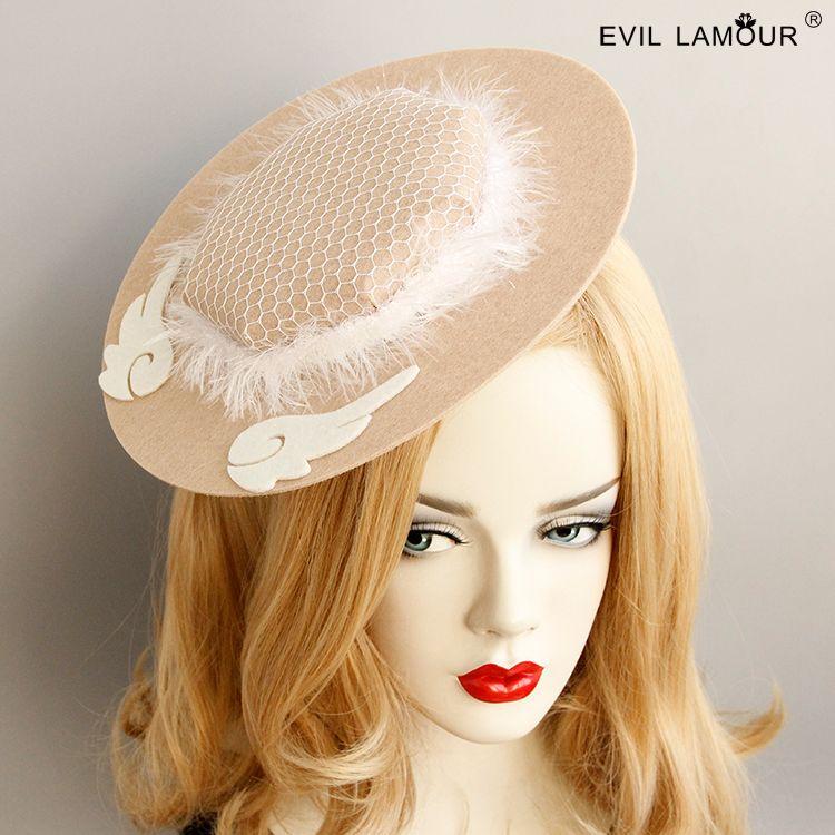 New Amazing Girl Big Round Feather Fansinator Hat Fashion Lady Angelo ali Wedding Hat Hairclips Womans Accessori per feste FJ-191