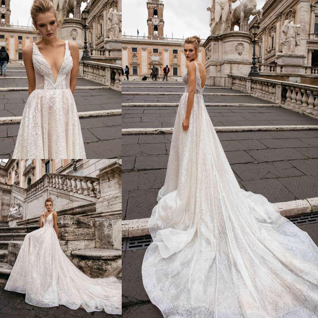 Handmade Beading Pearls A Line Wedding Dresses Full Sequins Applique Deep V Neck Bridal Gowns Court Train Luxury Dress