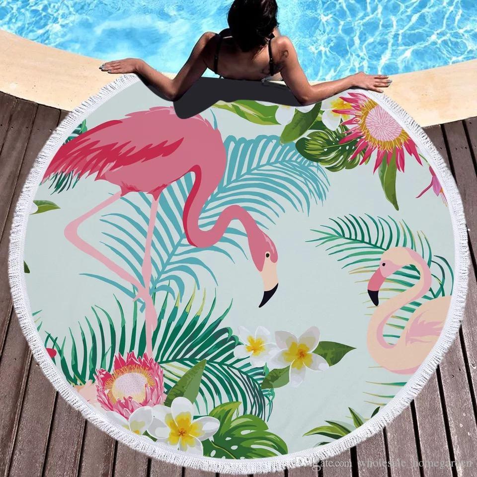 Tropical Imprimé ronde Serviette de plage Hot vente Flamingo Microfibre Parrot Round plage serviette de bain serviette couverture 150 * 150 8styles