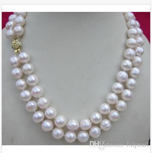 """Double strands 10-12mm natural south sea white pearl necklace 18"""" 14K GOLD CLASP"""