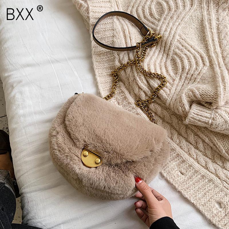 [BXX] Bandoleira Sacos para as Mulheres 2019 Mini Cadeia Messenger Bag Ombro Feminino inverno quente de veludo Bolsas HI878