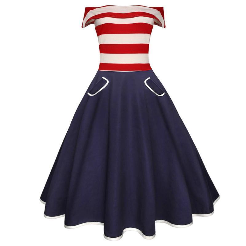 Günlük Elbiseler Şerit Patchwork Kadınlar Retro Elbise Slash Boyun Kısa Kollu Yaz Bağbozumu 60s Audrey Hepburn Rockabilly Vestidos