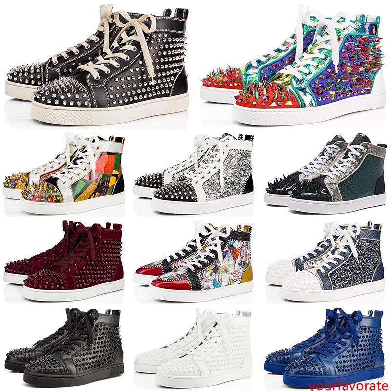 Nouveau Mode De Luxe Mens Designer Chaussures s Casual Hommes Femmes clouté pointes plat partie plate forme de brevet véritable Sneakers En Cuir