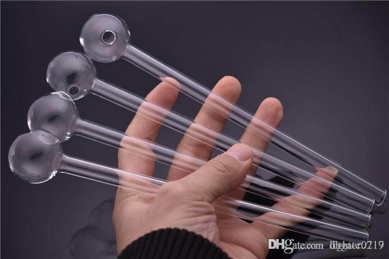 Alargar alta calidad de 20 cm de largo bola de 30 mm de tubo de vidrio tubo quemador de aceite claro tubo quemador de aceite de vidrio Pyrex para pipas