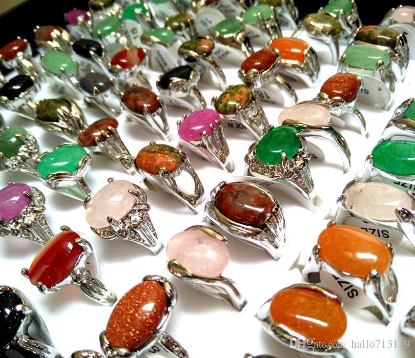 Groothandel 50 stks Top Mix Kleurrijke Natuursteen Ringen Dames Dames Crystal Charm Elegante Ring Mode Rhinestone Ring Xmas Sieraden
