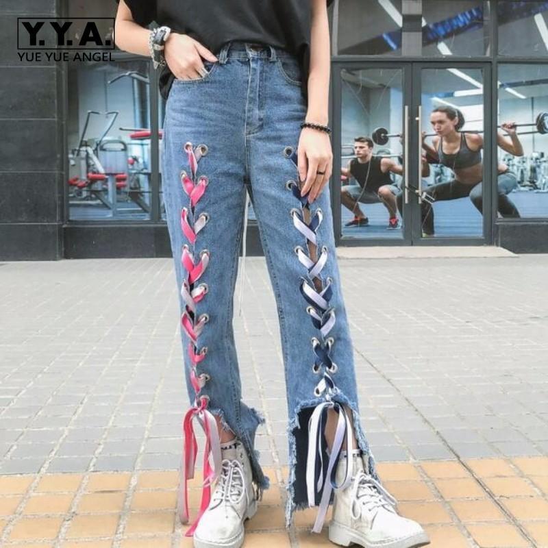 Женские джинсы для девочек Личность оружия Свободные повседневные джинсовые отверстия Разорванные высокие уличные одежды Модные дизайнерские женские брюки середины талии штаны