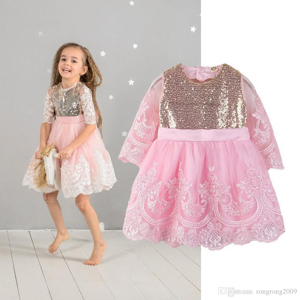 Wholesale Sequins Baby Girl Dress Embroidery Pink Long Sleeve Princess Dress for Girls Kids Clothes 2-7Y E93004