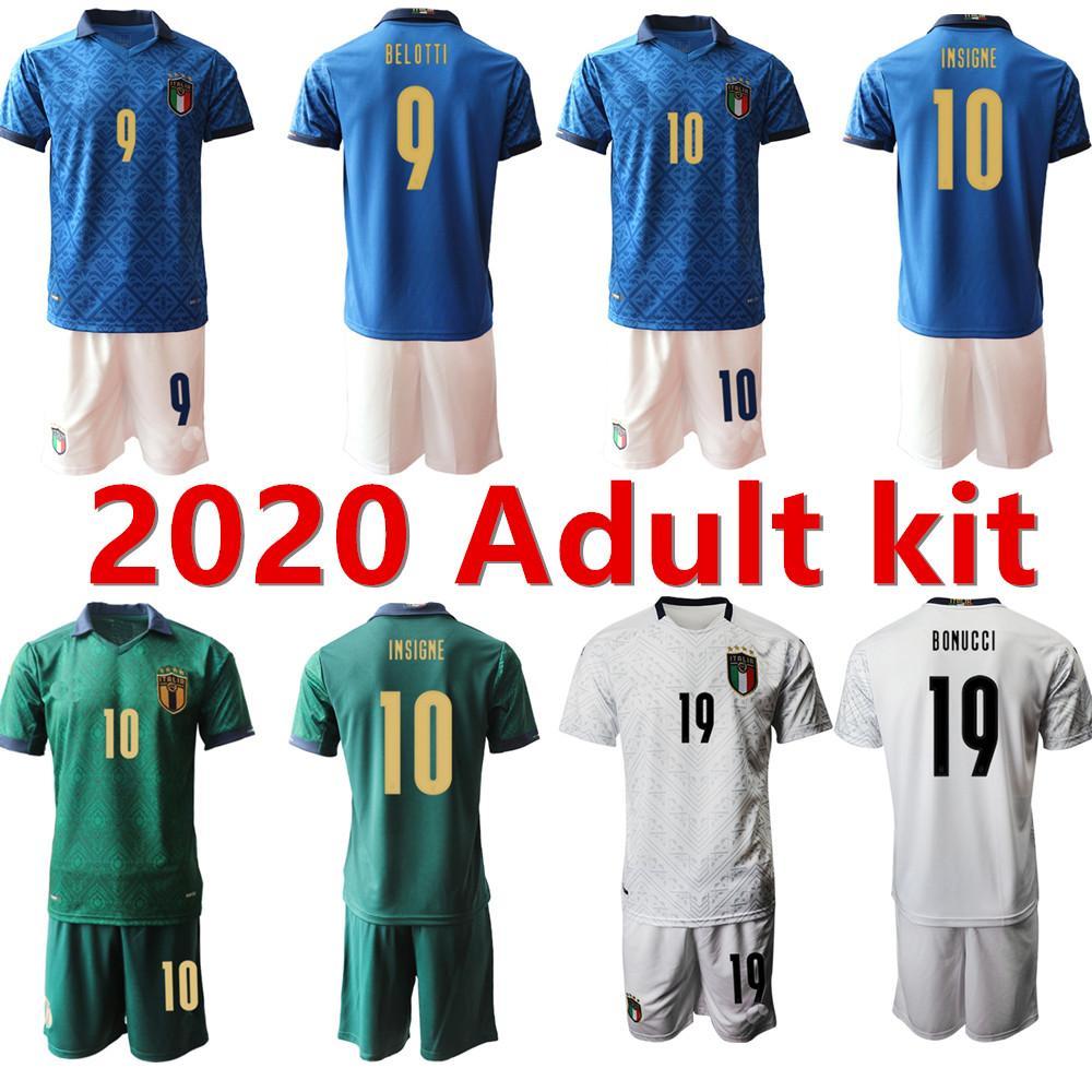 새로운 2020 성인 키트 남성 이탈리아 축구 유니폼 20 21 홈 멀리 3 버폰 Pirlo Zaza de Rossi Bonucci Verratti 축구 셔츠