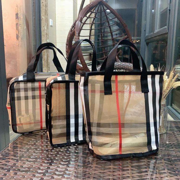 pacchetto classico ge zi bao scacchi lavaggio portatile doccia spiaggia borsa mamma trousse trasparente