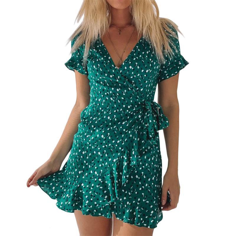 Vestido de verão feminino sexy decote em v vestidos florais moda manga curta praia mini vestido de verão babados chiffon vestido de festa vestidos verano vestido de verão