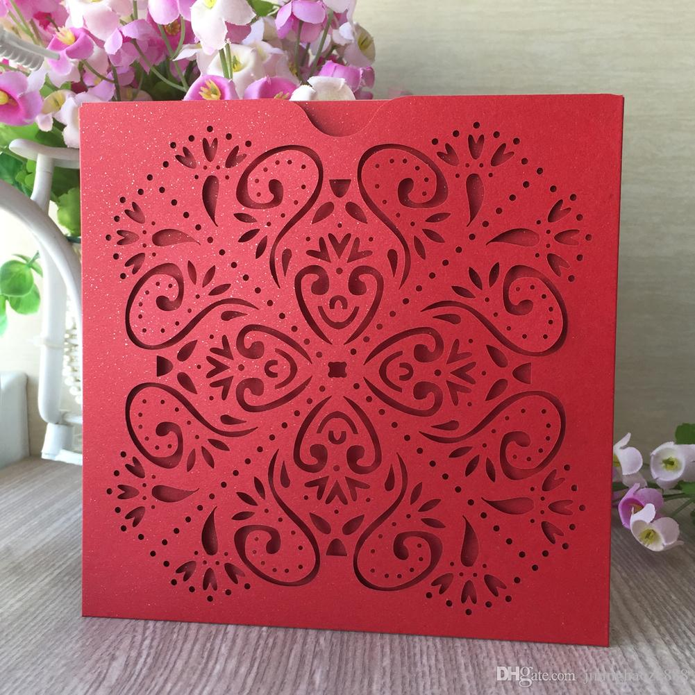15PCS /lot Hollow Laser Cut Sample Red Color Wedding Invitation Cards Garden Theme Anything Party Supplies