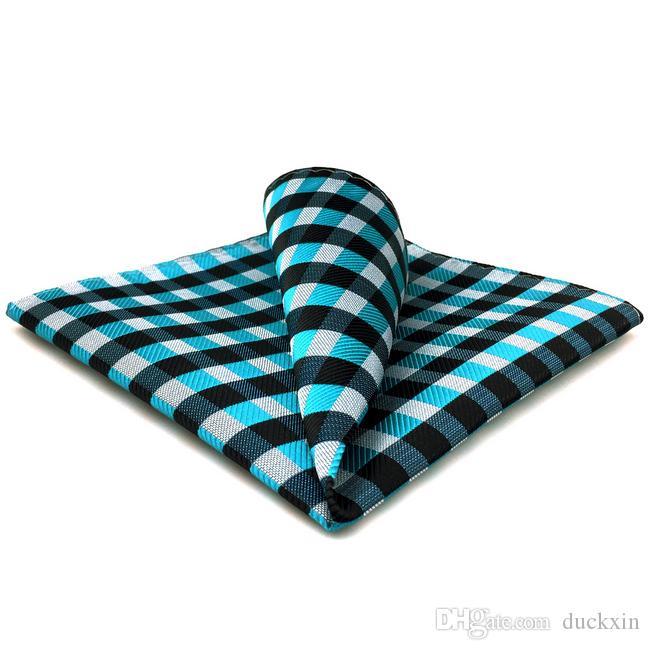 PH13 Sprawdzone światło niebieski czarny szary szary biały kieszonkowy kwadrat kostki męskie szprychy żakardowe tkane