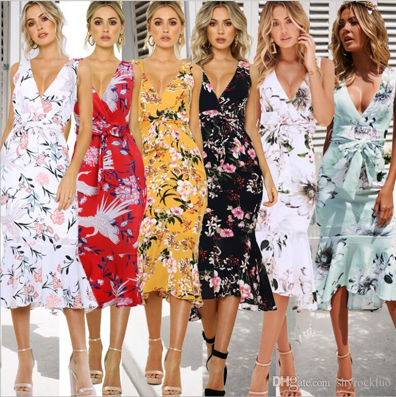 2019 Damen Sommer Mode Lässig Slim Fit Hüfte Blumendruck Ärmellos Femmel Boho Langes Kleid Strand Cocktail Party Floral Sommerkleid OL Kleid