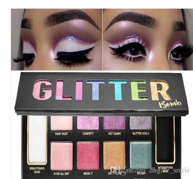Dropshipping Sıcak Satış Glitter Bomba göz farı paleti 10 güzellik renkler makyaj kozmetik göz farı Fosforlu allık paleti