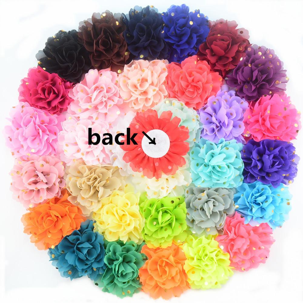 핫 판매 40PCS / 많은 7CM 쉬폰 플라워 패브릭 꽃 머리띠 DIY 헤어 액세서리 LSFB011