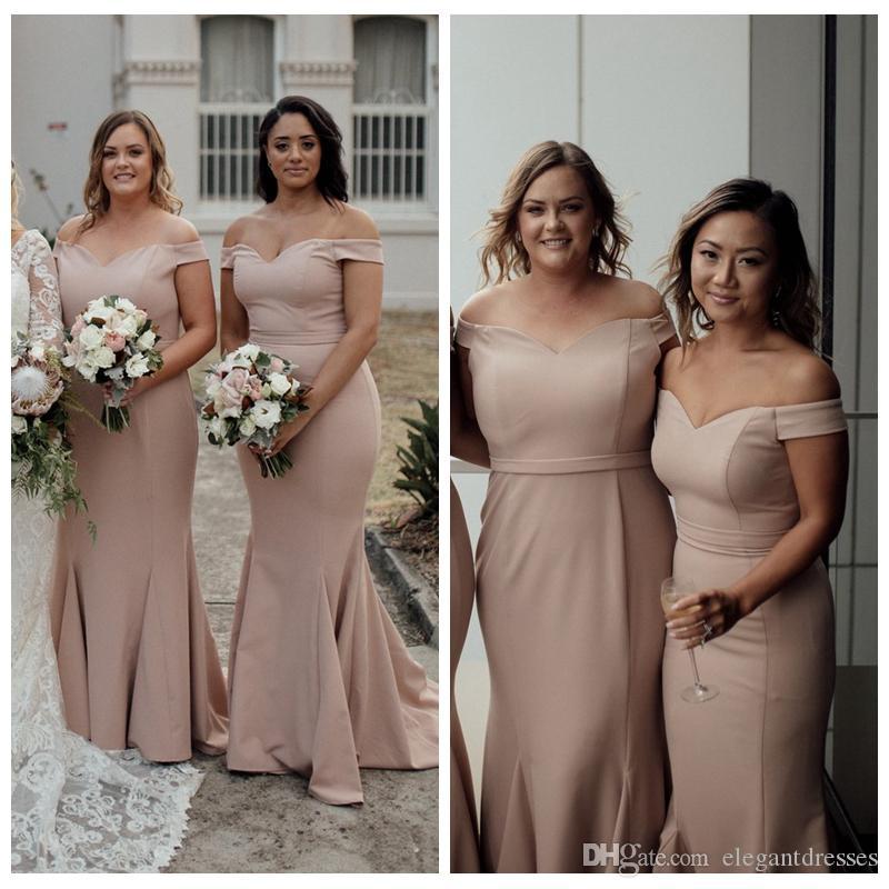 2021 от плеча тонкий простые русалки невесты платья платья дешевые индивидуальные длинные Vestidos de честь дешеного дешевого плюс размер одежды de bridemaid