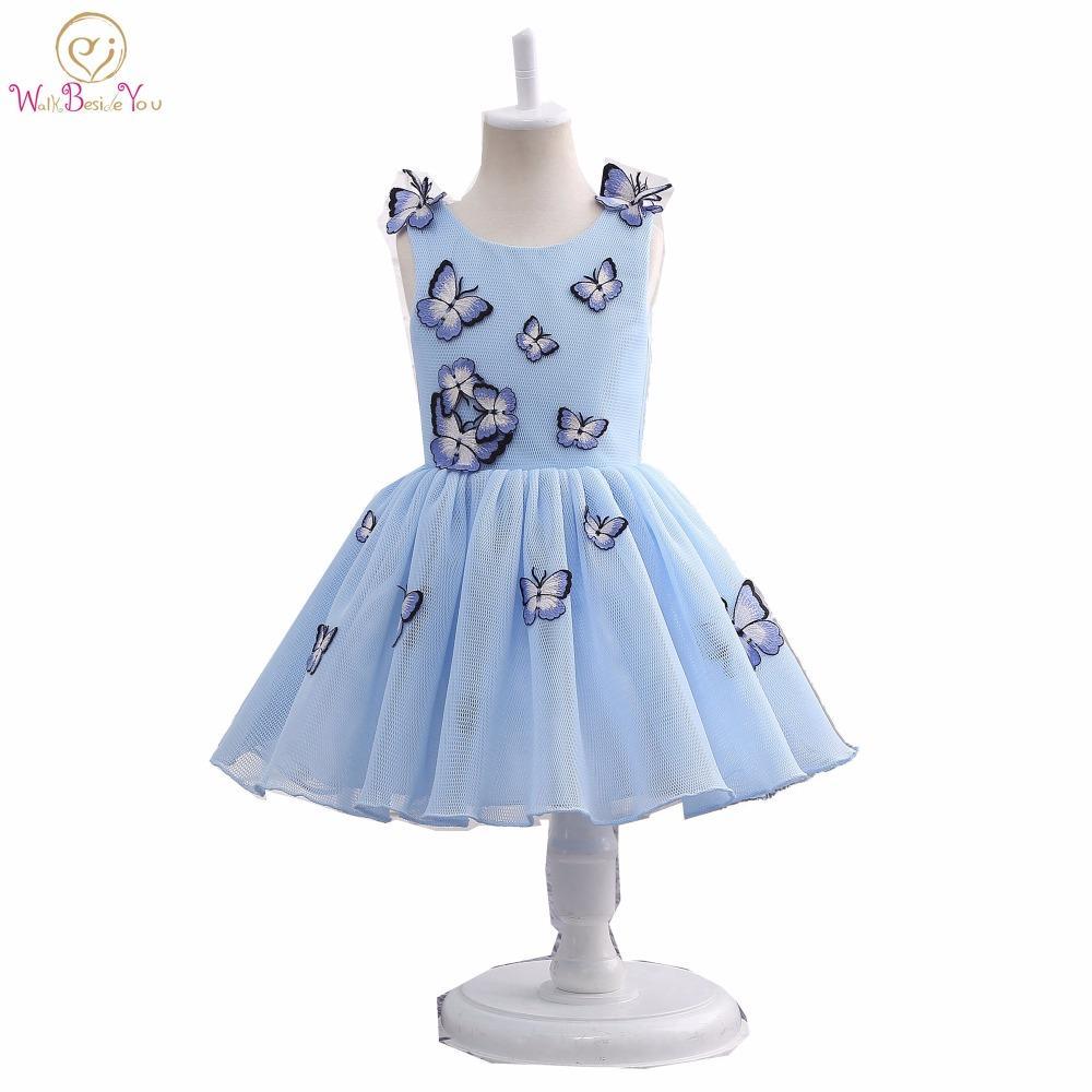Imagen real 2019 Vestidos para bebés vestido de niña de la flor de mariposa azul de la comunión de los niños vestidos del desfile de los vestidos para niñas Glitz
