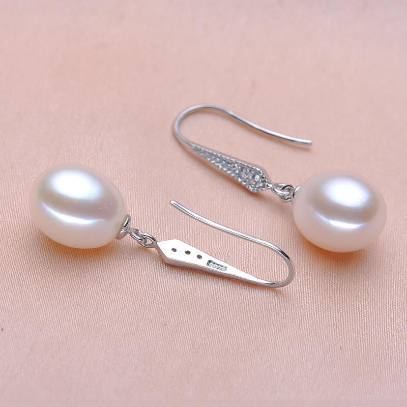 Real 925 sterling silver Earrings Natural Freshwater Pearl Earrings Teardrop Pearl jewelry For Women christmas earrings gift