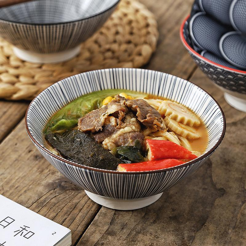 7 Inch Nordic Style Modern Simple Ceramic Tableware Household Restaurant Individual Bucket Rice Porridge Bowl Soup Noodle Bowl