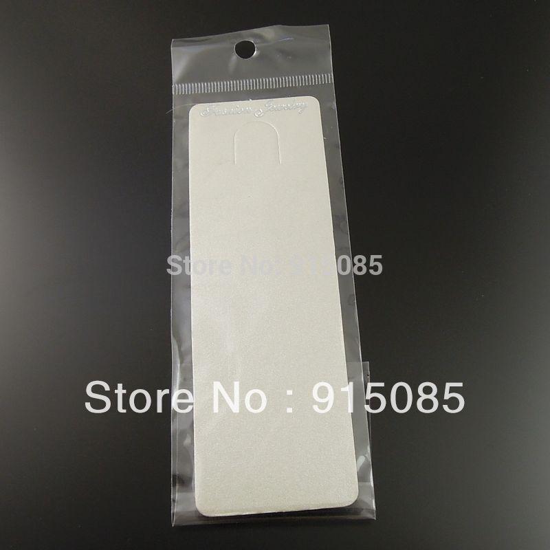 Colar de Exibição de Jóias 19.5 * 5 cm Frete Grátis Papel Prata Cinza Colar de Jóias Display Cartão Pendurado Com Saco 100 pcs 36887-068I