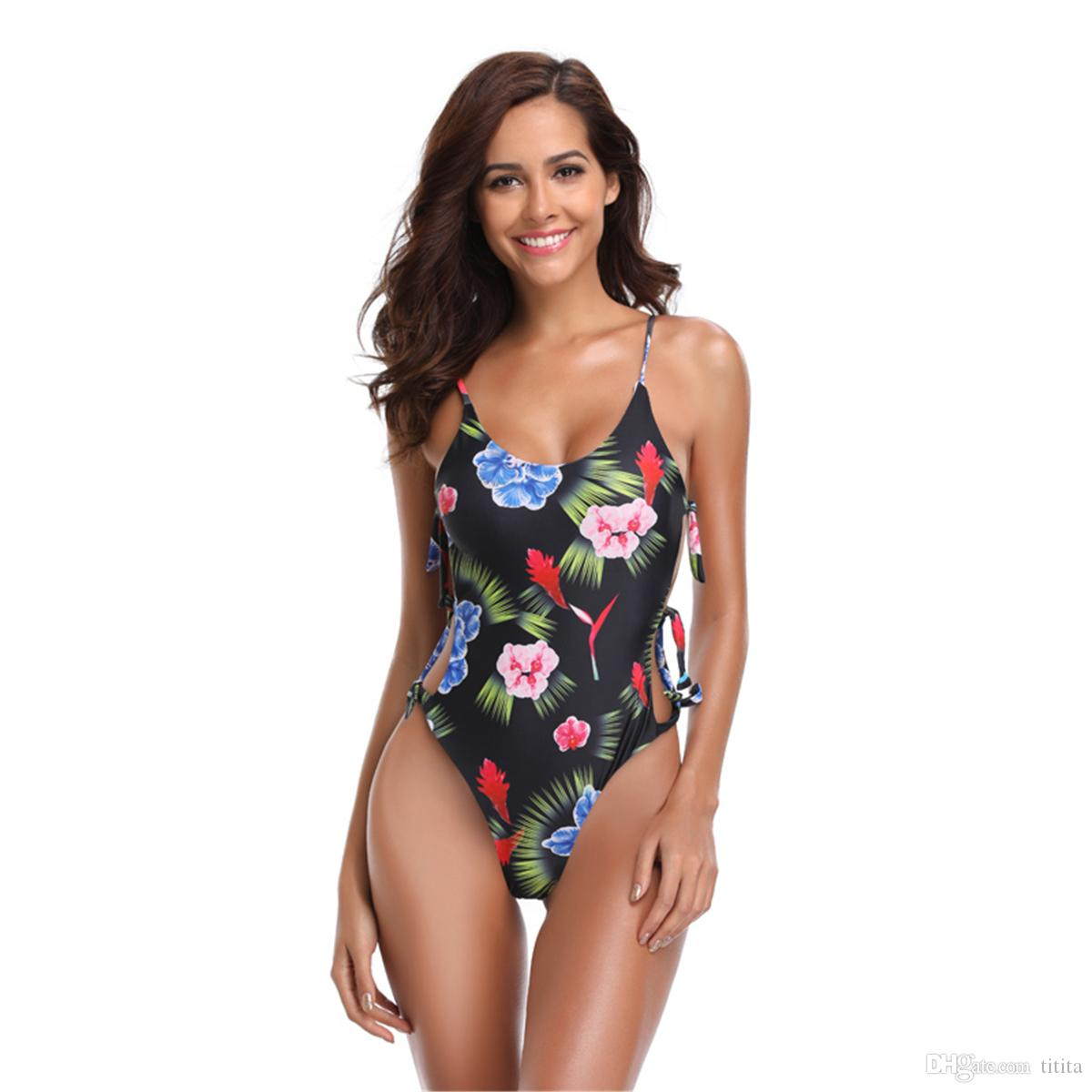 Retro Floral Printed Bikini One Piece Bandage Swimwear Sexy Beach nice and Cool Material Bathing Suit High Quality Fast delivery