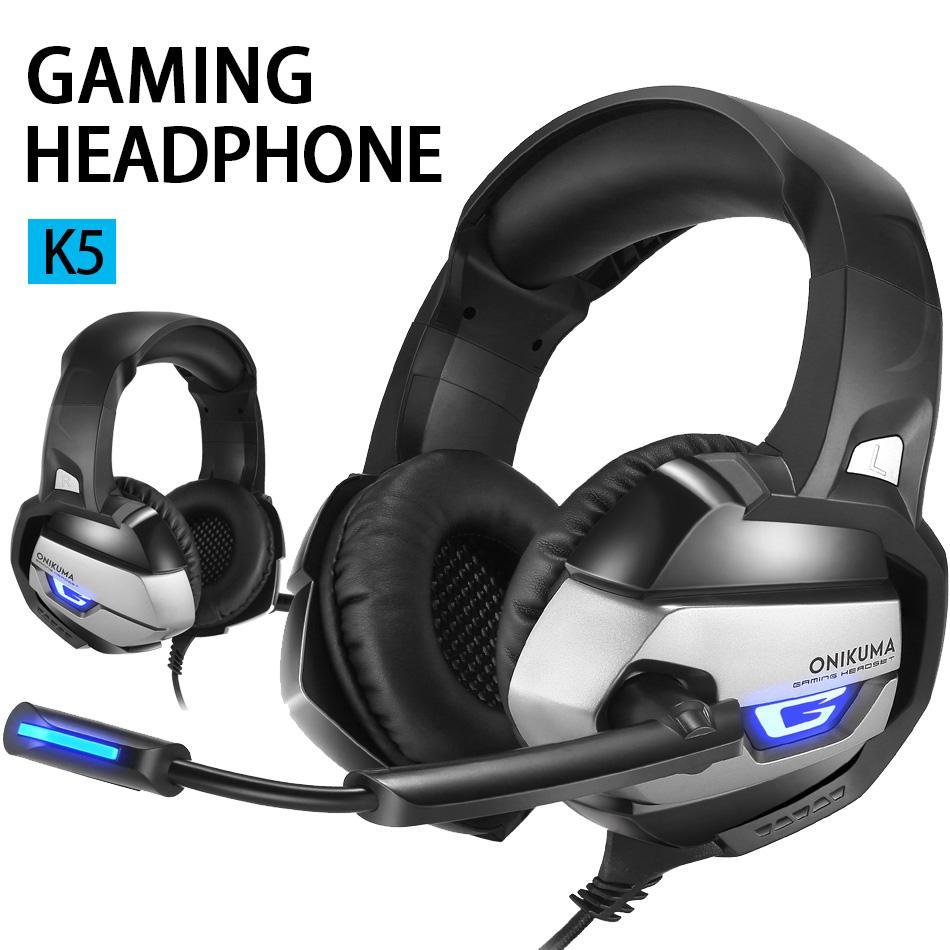 K5 Gaming Auricolari Over-Ear Gaming Wired cuffie surround Stereo Riduzione del rumore con la luce del Mic LED per Tablet PC dispositivo in scatola al minuto