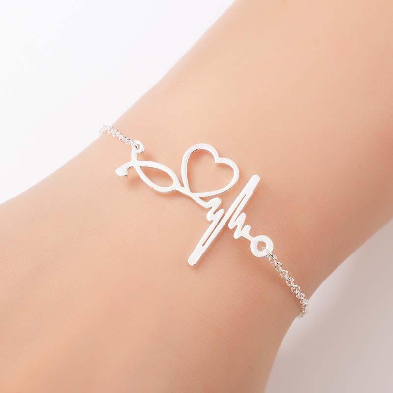 femme coeur bracelets en acier inoxydable réglable bracelet Couple charmes accessoires Femmes De or Dames bracelet Pour Femmes Chaîne