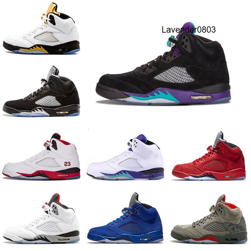 Les nouvelles chaussures de basket-ball de 5s Raisin noir suède bleu hommes costume rouge feu Flight Trainers espadrille 5 sports pointure 8-13