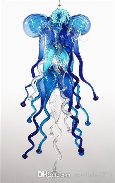 Venda Hot Small Size 100% soprado vidro borosilicato azul Lustres Art New Style Luz Home Decor Chandelier