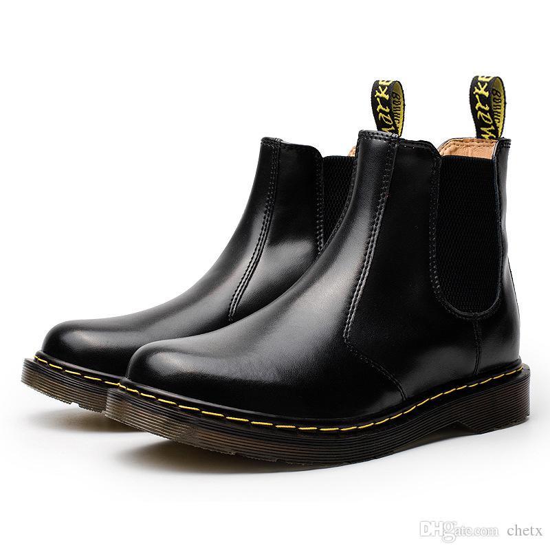 unisex classica stivali di pelle Genuine grande formato degli uomini dello slip-on stivali uomo alla caviglia in pelle lucida scarpe di vernice superiore con mucca unico muscolo C14