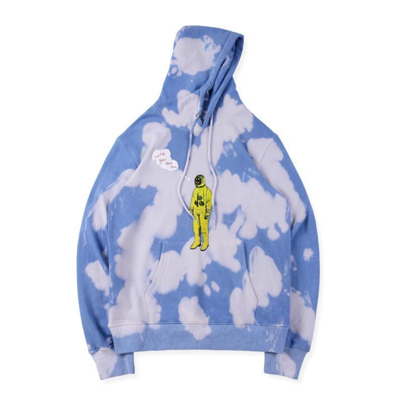 Mens Designer Hoodies TRAVIS SCOTT ASTROWORLD Blue White Tie-dye Astronaut High Street Fashion Brand Hoodie Loose Sweatshirt S-XL