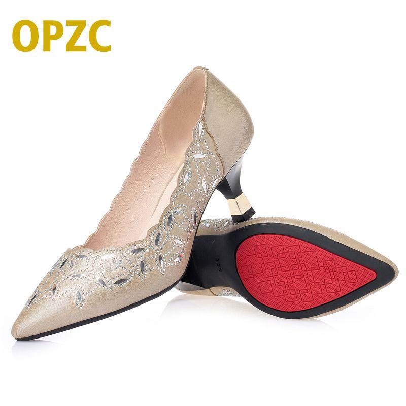 OPZC أحذية للنساء الصيف ، أزياء مضخات أشار تو مضخات ، أجوف من اللباس أحذية منخفضة الكعب قارب ، الصلبة الكعب السيدات الزفاف