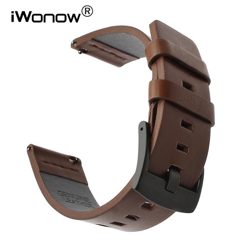 Italiana de piel aceitosa correa 22mm 20mm para Samsung Galaxy reloj 42mm 46mm SM-R810 / R800 lanzamiento rápido de deportes de la venda de la correa de muñeca