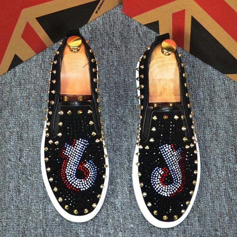 New Season Sneakers Mens Roller scarpe di lusso della scarpa da tennis piatto Spikes Spikes borchie Casual Shoes Low Cut