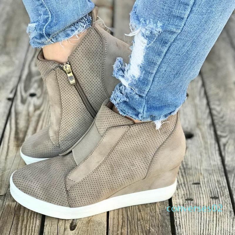Puimentiua Güzel Sneakers Ayakkabı Kadınlar Platformu Kadın Sonbahar Yüksek Üst Kadın Günlük Ayakkabılar Kama CO02