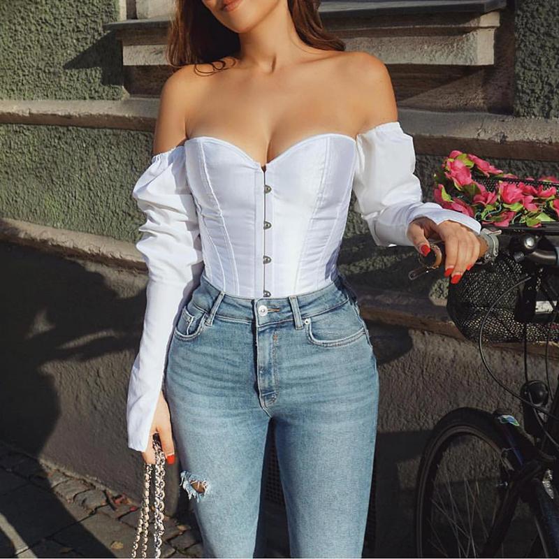 المرأة t-shirt قبالة الكتف مثير فقاعة طويلة الأكمام أعلى عارية الذراعين قميص أبيض الترفيه مشد الرجعية نمط المرأة حزب ليلة القمصان 2021