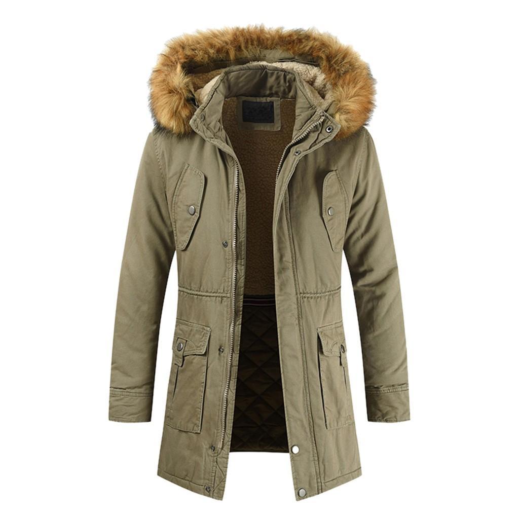 Winter Down Coat Long Fur Collar Army Green Men Parka Fleece Cotton Coat Jacket Parka Men Army Green S
