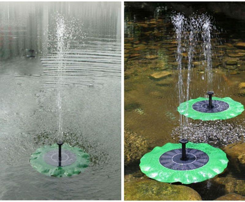 Bomba accionada solar de la bomba de la fuente de hoja de loto fuente flotante de agua para el baño del pájaro Estanques Jardines piscina al aire libre Decoración