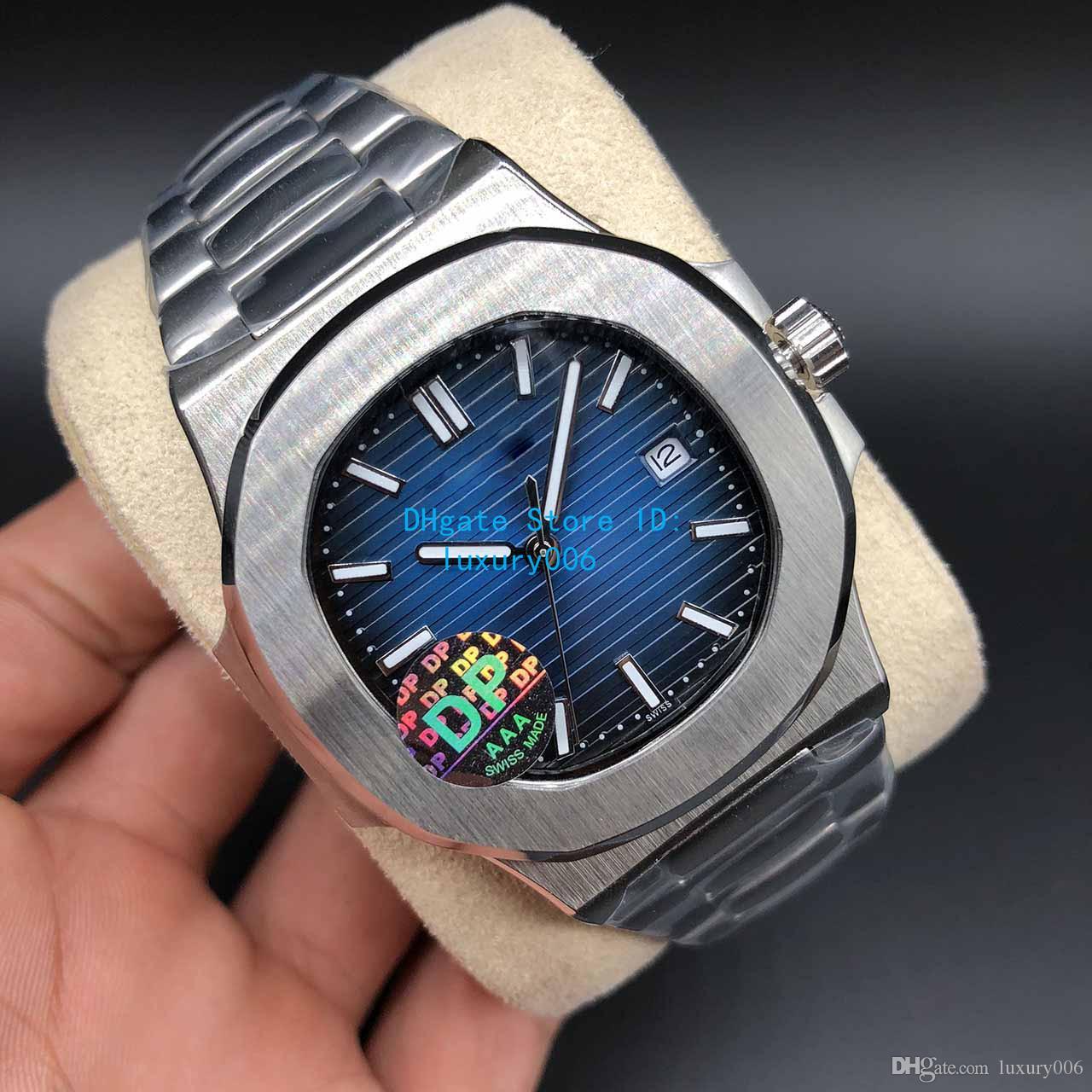 DP de calidad superior esfera azul Asia 2813 Movimiento de zafiro Relojes de pulsera 40mm Nautilus 5711 Mecánico Transparente Automático Reloj para hombre Relojes
