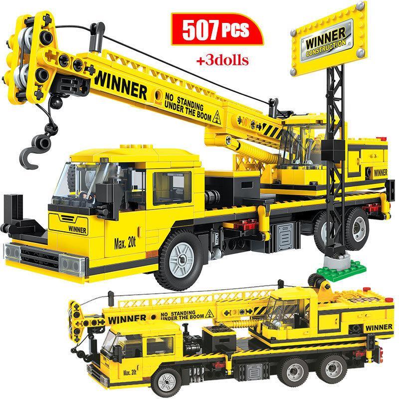 Mattoni 700pcs City Car Ingegneria camion Building Blocks Assemblage chiarisce il Treno Veicolo per costruzioni Bulldozer Gru giocattoli per i bambini