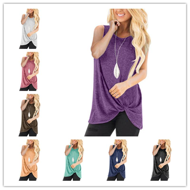 Женщины лето Кинк футболка без рукавов подтяжки жилет сплошной цвет связанный узел тройники для Леди случайные свободные топы домашняя одежда Hotsale A42902
