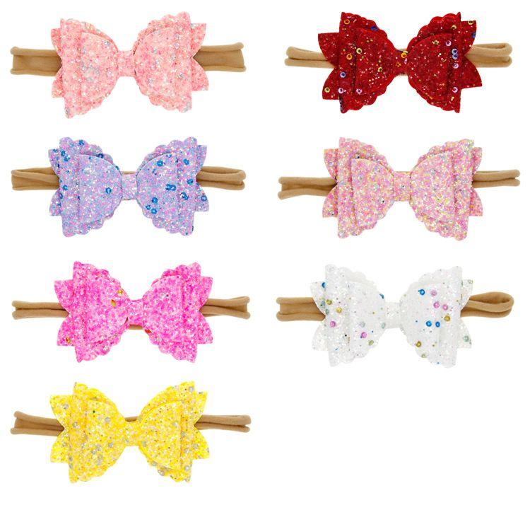 Säuglingsbaby-Big Sequin Bogen-Stirnbänder Glitter Shiny Knot Bogen Kleinkind-Frühlings-Nylon Hairwrap Kinder Princess Haarschmuck