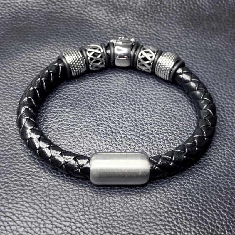 Conector macho de Joyería de Moda Pulsera de Cuero Trenzado Negro Cierre Magnético Muñequera