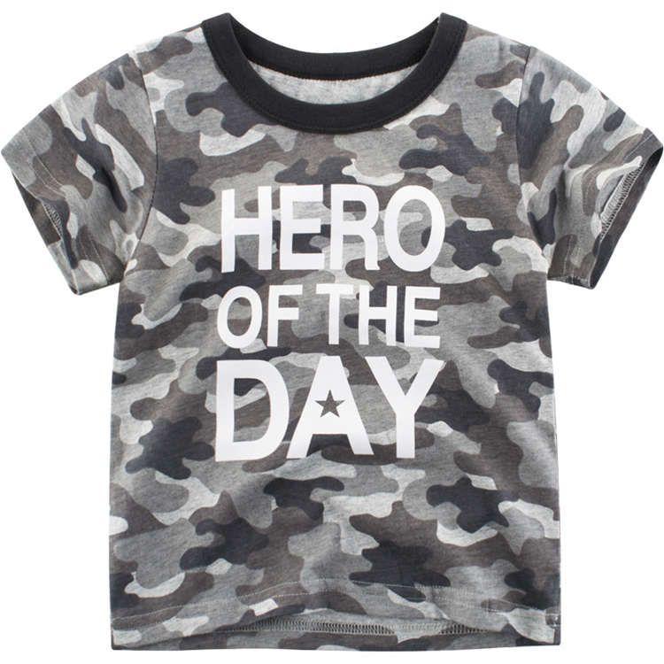 Yaz toptan çocuk markası tasarımcı mektup baskı tişört bebek kısa kollu giysiler çocukların% 100 pamuk üst için çocuk moda kamuflaj tişört