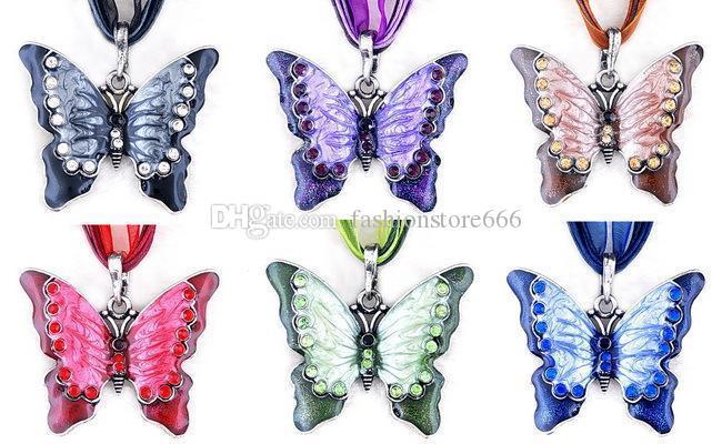Renkli elmas kelebek kolye dantel zincir tasarımcı kolye kolye kadın kolye moda takı