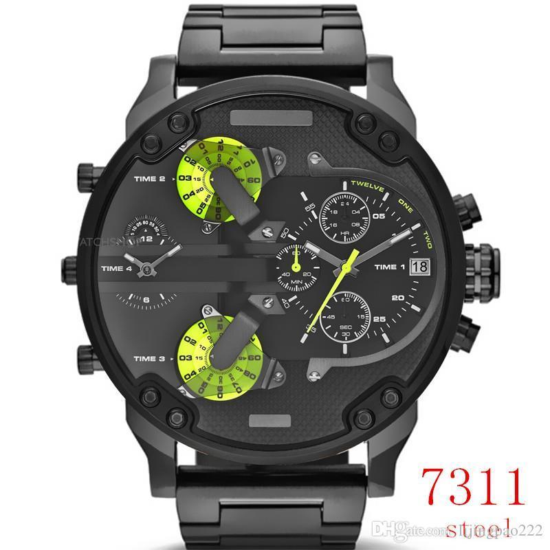 Dz melhor venda dos homens da moda grande dial relógio de quartzo homens relógio de aço inoxidável relógio esportivo casual para homens masculino relógio relogio masculino