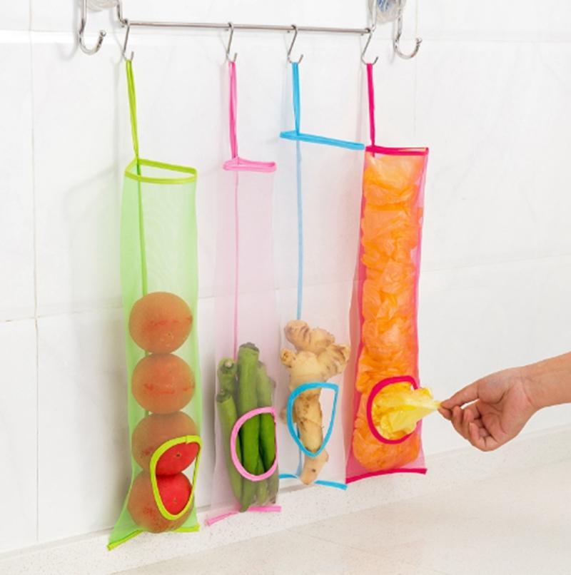 حقيبة التخزين البصل معلق شبكة حقائب النباتية البطاطس حامل الفاكهة الزنجبيل المنظم خزائن المطبخ حقائب 4 ألوان LQPYW1086